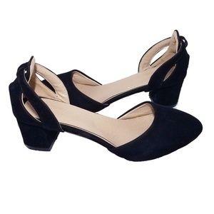 Italian Kitten Heels Black Cream Velvet 8.5 Ladies